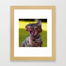 funny cat shocked Framed Art Print