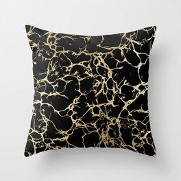 Stylish black faux gold foil elegant marble Throw Pillow