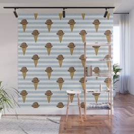 ice cream cones stripes food fight apparel and gifts Wall Mural