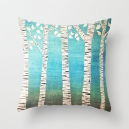 Turquoise birch forest Throw Pillow