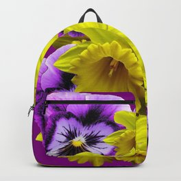YELLOW SPRING DAFFODILS & LILAC PANSIES COLOR ART Backpack