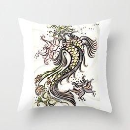 Koi Rain Throw Pillow