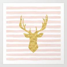 Pink Watercolor Stripes and Gold Deer Art Print