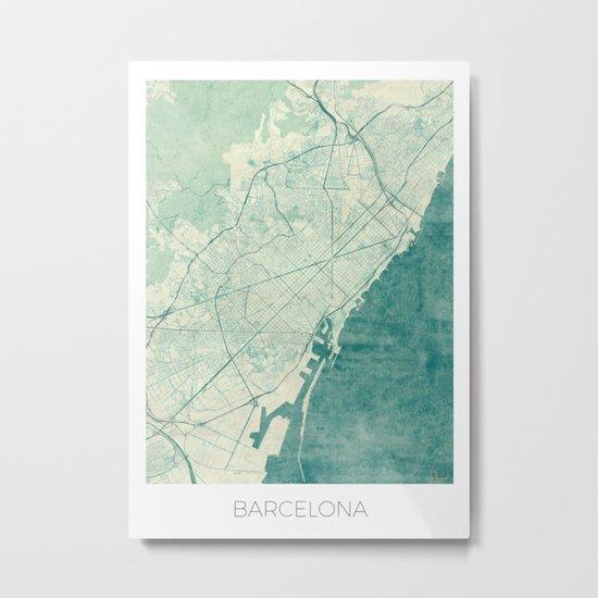 Barcelona Map Blue Vintage Metal Print
