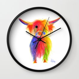 Scottish Highland Cow ' TOTTIE ' by Shirley MacArthur Wall Clock