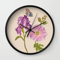 botanical Wall Clocks featuring Botanical by Catherine Holcombe