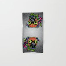 Boxer in Fawn - Day of the Dead Sugar Skull Dog Hand & Bath Towel