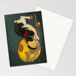 Kobayashi Kiyochika Black & White Cat Fluffy Cat Japanese Lantern Vintage Woodblock Print Stationery Cards