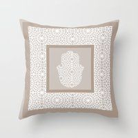 islam Throw Pillows featuring Hamsa in morrocan pattern by Heaven7