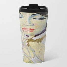 Colourful dripping ink portrait Travel Mug