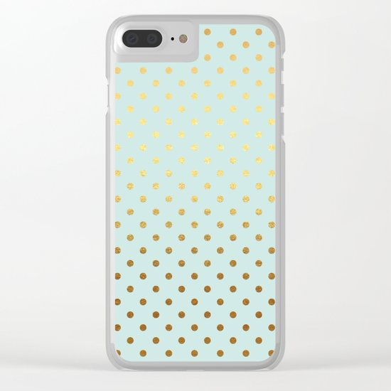 Gold polka dots on aqua background - Luxury turquoise pattern #Society6 Clear iPhone Case