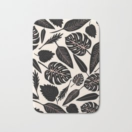 Monstera pattern in black and pastel Bath Mat
