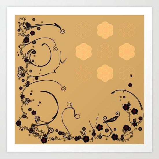 Flower Scribble Swirls And Twirls Art Print