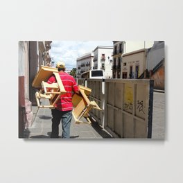 Man selling chairs Metal Print