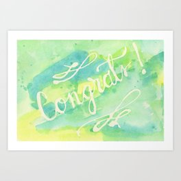 Say Congrats! in Blue, Green and Yellow Art Print