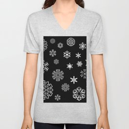 Modern black white hand painted snow flakes Unisex V-Neck