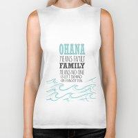 lilo and stitch Biker Tanks featuring ohana means family.. lilo and stitch disney...  by studiomarshallarts