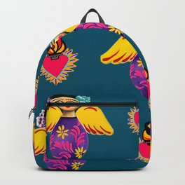 Angels and Corazones (flaming hearts) Backpack