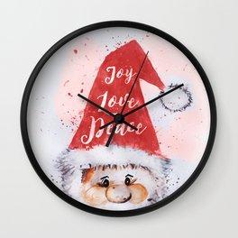 "Christmas watercolor Santa Claus ""Joy Love Peace"" words Wall Clock"
