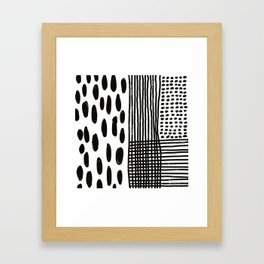 Play minimalist abstract dots dashes and lines painterly mark making art print Framed Art Print