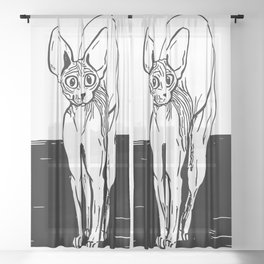 Black and White Sphynx Cat Line Drawing - Sphynx Lovers Gift - Naked Cat - Wrinkly Kitty Sheer Curtain