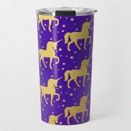 Purple and Gold Unicorn and Stars Pattern Travel Mug