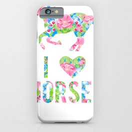 I Love Horses Floral Pattern Horse iPhone Case