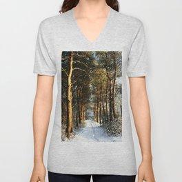 Forest Snow Scene Unisex V-Neck