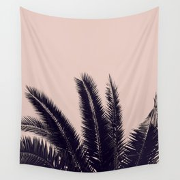 PALM TREE ROSE BLACK Wall Tapestry