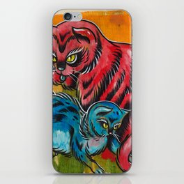Blue and Red Cats iPhone Skin