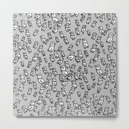 Rockwell Birds - Gray Metal Print