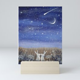 Hares and the Crescent Moon Mini Art Print