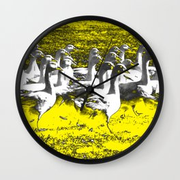 Marching Geese - Yellow Wall Clock