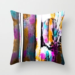 cactus with wooden background and colorful painting abstract in orange blue pink Throw Pillow