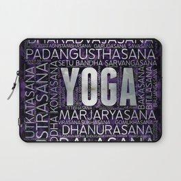 Yoga Asanas / Poses Sanskrit Word Art  Pearl on amethyst Laptop Sleeve