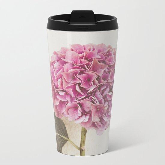 Beautiful Pink Hydrangea Metal Travel Mug