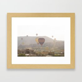 Foggy Morning Balloon Ride, Cappadocia Framed Art Print