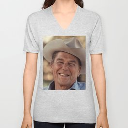 President Ronald Reagan in a Cowboy Hat Unisex V-Neck