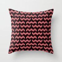 8 bit Throw Pillows featuring 8 Bit Bacon  by robyriker