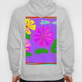 Lavender background of a Floral Design with Dragonfly Hoody