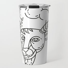 The Goat Chef Cook Baker Mono Line Travel Mug