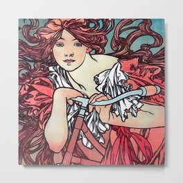 Cycles Perfecta by Alphonse Mucha 1902 // Cropped Vintage Advertisement Bicycle Girl with Long Hair Metal Print