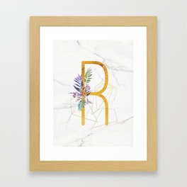 Modern glamorous personalized gold initial letter R, Custom initial name monogram gold alphabet prin Framed Art Print