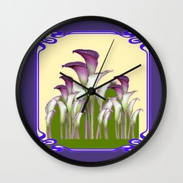 ART NOUVEAU CALLA LILIES PURPLE MODERN ART DESIGN Wall Clock
