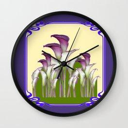 ART NOUVEAU CALLA LILIES PURPLE MODERN ART DESIGN Wall Clock