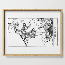 The Fool: Black and White Line Art Serving Tray