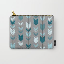 Feathered Blue Arrows Carry-All Pouch
