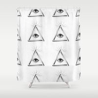all seeing eye Shower Curtains featuring All Seeing Eye by priscilawho