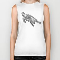 sea turtle Biker Tanks featuring Sea Turtle by Laura Hines