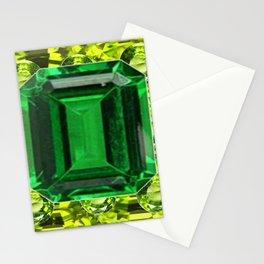 GREEN EMERALD & PERIDOT GEMS VINETTE Stationery Cards